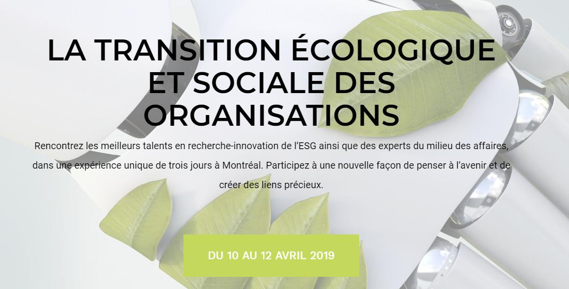 La transition écologique et sociale des organisations