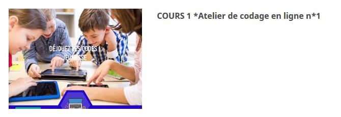 COURS 1 *Atelier de codage en ligne n*1