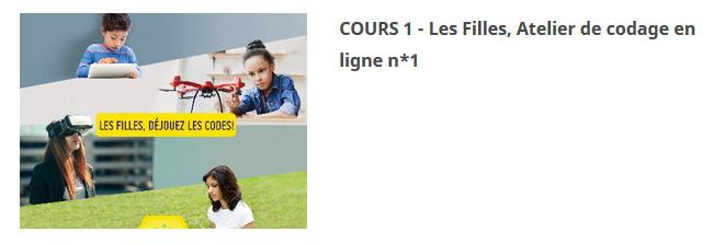 COURS 1 – Les Filles, Atelier de codage en ligne n*1