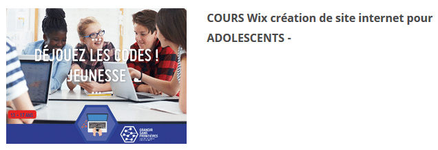 COURS Wix création de site internet pour ADOLESCENTS